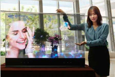 China High Efficiency Transparent Glass LED Display With Simple Steel Frame Structure supplier